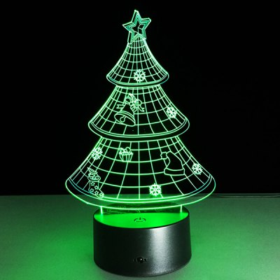 Funny 3D Christmas Tree Shape Touch Colorful Night Light