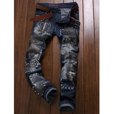 Embroidered Rivet Embellished Ripped Jeans