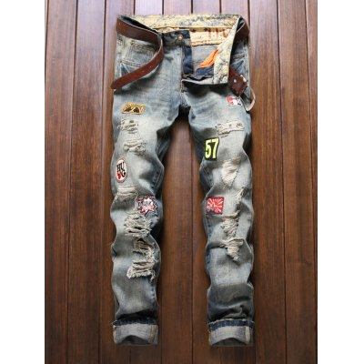 Patch Design Frayed Ripped Jeans