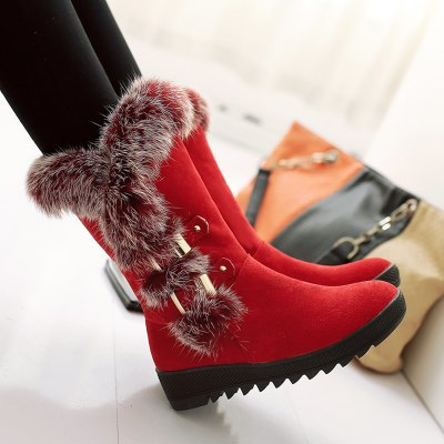 Slip On Buckle Embellished Fur Mid Calf Boots