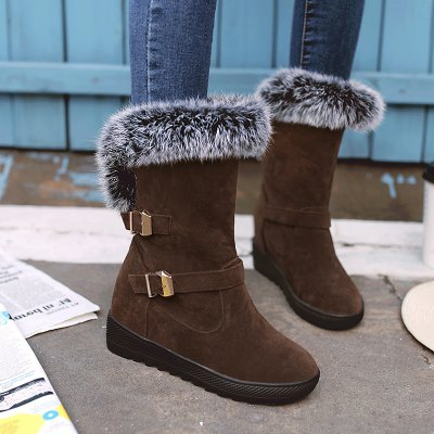 Slip On Buckle Embellished Fur Ankle Boots