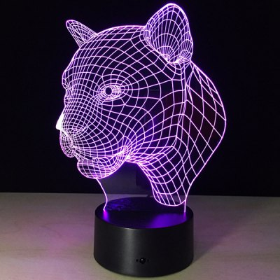 Leopard Head Shape Touch Colorful Night Light