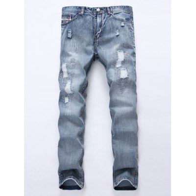 Frayed Stitching Scratched Ripped Jeans