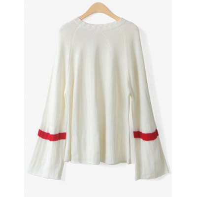 Flare Sleeve Color Block Loose Sweater