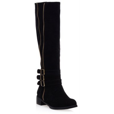 Suede Zip Buckles Knee-High Boots