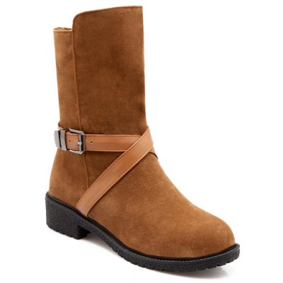 Buckle Flock Mid-Calf Boots