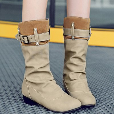 Buckle Rhinestone Ruched Mid-Calf Boots