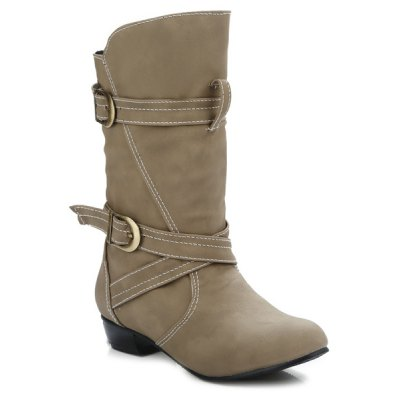PU Leather Stitching Buckle Straps Mid-Heel Boot