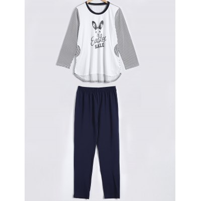 Striped Bunny Print High Low Sleepwear Sets