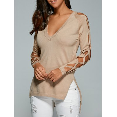 V Neck Cutout Sleeve Sweater