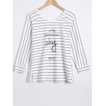 cheap 3/4 Sleeves Striped T-Shirt and Pants Sleepwear