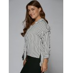 Plus Size Tassel Striped High Low Blouse deal