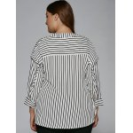 Plus Size Tassel Striped High Low Blouse for sale