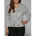 Plus Size Tassel Striped High Low Blouse