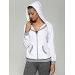 cheap Color Block Drawstring Hoodie With Pockets