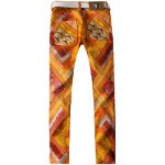 cheap Zipper Fly Paisley and Geometric Print Straight Leg Jeans