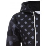 Flag Pattern Spliced Camo Print Hoodie for sale