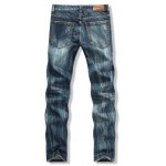 cheap Button Fly Scratched Five-Pocket Ripped Jeans