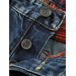 Button Fly Scratched Five-Pocket Ripped Jeans for sale