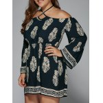 Plus Size Halter Flare Sleeve Dress