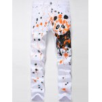 Zipper Fly Splash-Ink Panda Print Straight Leg Jeans
