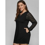 Long Sleeve Lace Spliced Plus Size Dress for sale