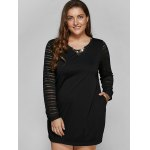 Long Sleeve Lace Spliced Plus Size Dress deal