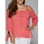 Plus Size Tie Front Cut Out Blouse