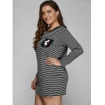 Long Sleeve Striped Plus Size Dress for sale