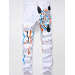 Zipper Fly Splash-Ink Zebra Print Straight Leg Jeans