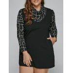 Long Sleeve Geometric Plus Size Mini Dress