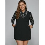 cheap Long Sleeve Geometric Plus Size Mini Dress