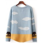 cheap Elephant Tree Jacquard Pullover Sweater