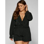 cheap Plus Size Long Sleeve Surplice Romper
