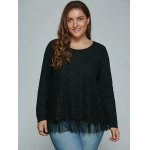 cheap Plus Size Lace Spliced Top Long Sleeve Blouse