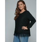 Plus Size Lace Spliced Top Long Sleeve Blouse deal