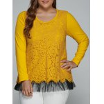 Buy Plus Size Lace Spliced Top Long Sleeve Blouse 2XL YELLOW