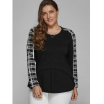 cheap Plus Size Long Sleeve Checked Asymmetric Blouse