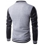 cheap Faux Leather Insert Varsity Striped Button Up Jacket