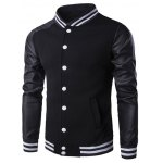 Faux Leather Insert Varsity Striped Button Up Jacket 11027