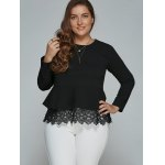 cheap Plus Size Long Sleeve Lace Spliced Blouse