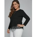 Plus Size Long Sleeve Lace Spliced Blouse deal