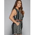 Plus Size Pockets Design Surplice Romper deal