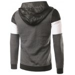 cheap PU-Leather Spliced Hooded Color Block Zip-Up Hoodie