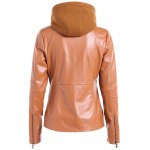 cheap Warm Drawstring Removable Hooded PU Biker Jacket