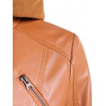 Warm Drawstring Removable Hooded PU Biker Jacket deal