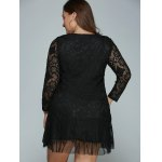 Plus Size Long Sleeve Lace Shift Dress for sale