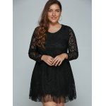 cheap Plus Size Long Sleeve Lace Shift Dress