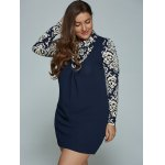 Blue and White Porcelain Print Plus Size Mini Dress deal