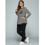 Plus Size Long Sleeve Striped Outfits deal
